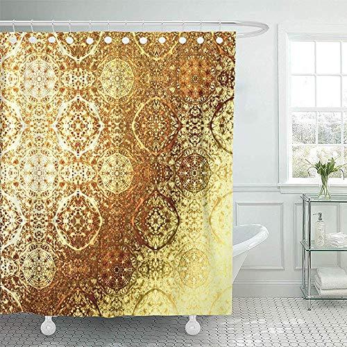 Searster$ Shower Curtain Duschvorhang Beige Golden Oriental Pattern Folk Traditionelle Royal Gold Werbung Boho Chic Metallic Folie Braun Duschvorhang,72X72 In