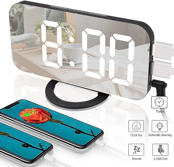 Makerfun Alarm Clock Digital Clock With Dual USB Port 6 5 Large LED Display Easy Read Desk Clock 3 Level Adjustable Brightness Big Snooze Button Mirror Surface For Bedroom Living Room Decor