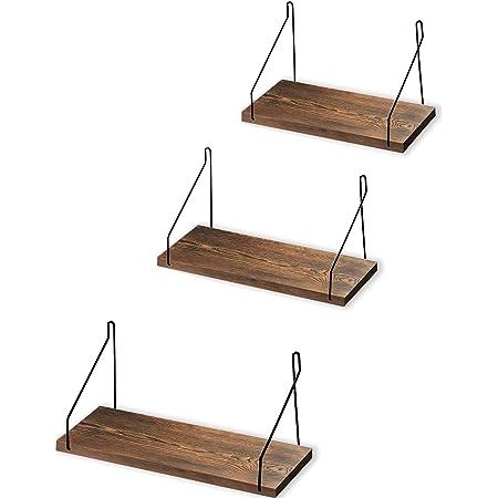 ウォールシェルフ 天然木 壁掛け棚 取付簡単 本棚 DIY 木製 飾り棚 シンプル ワイヤー付け 収納便利 (ブラウン, 30/35/40CM 3パック)