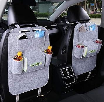 Lomire 2 Stück Auto Rückenlehnenschutz Rückseite Sitz Auto Organizer Multifunktionale Stuhl Zurück Aufbewahrungstasche Mit Tablet Halterung Für Kinder Kick Matte Für Ipad Iphone Dvd Getränke Grau Baby