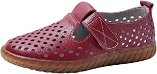 Women Girls Flat Mary Jane Shoes,QueenMM Casual Breathable Cut Out Leather Loafers Ankle Strap Comfort Driving Slip-On Flats