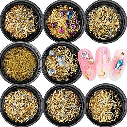 VINFUTUR 8 Box 3D Nagel Pailletten Stern Mond Metall Glitter Nail Art Glitzer Pailletten Strasssteine Nägel Dekoration DIY Nagel Kunst Nageldesign Nagel Zubehör