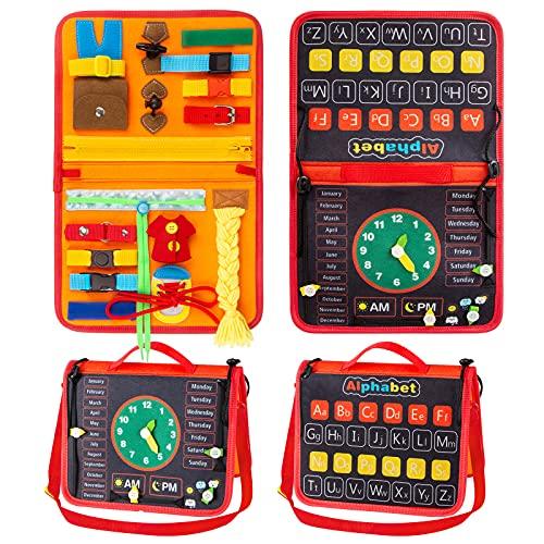Pristar Toddler Busy Board, Tablero de Actividad Sensorial Montessori para 1-3 Niños, Juguetes Sensoriales Educativos Tempranos con Tiempo, Alfabeto, Hebillas, Cremallera, Cordones, Botones, Trenza
