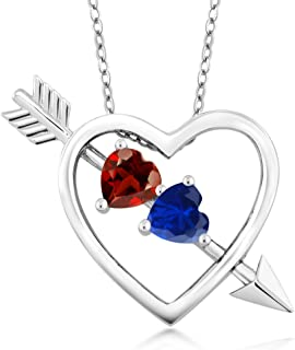 Gem Stone King 925 Sterling Silver Build Your Own 2 Heart Shape Birthstone Personalized Pendant Necklace Jewelry with 18 Inch Silver Chain