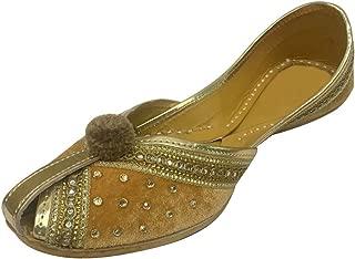 Women Velvet & Leather Khussa Shoes Punjabi Jutti Indian Handmade Flip Flop