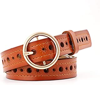 SGJFZD Round Buckle Wild Fashionable Hollow Hole Belt Women Leather Printed Fashion Trend Belt (Color : Camel, Size : 105 * 2.4cm)