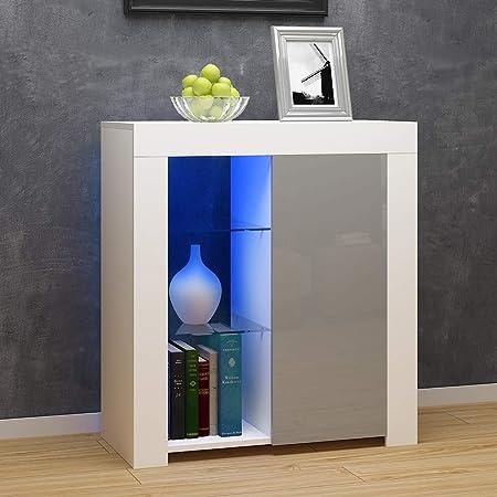 Commode de Eclairage LED, Buffets, Meuble de Rangement sur Salon, Chambre, 75 x 35 x 83 cm (Gris+Blanc)