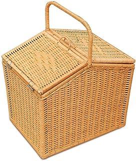 ZXL Panier à Manger Fait Main en rotin végétal Naturel avec Couvercle Poignée Panier Shopping Storage Gift Delivery Panier...