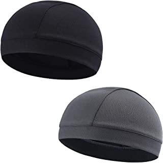 Moisture Wicking Cooling Skull Cap/Helmet Liner/Running Beanie Caps - Motorcycle Cycling Breathable Dome Cap Sweatband