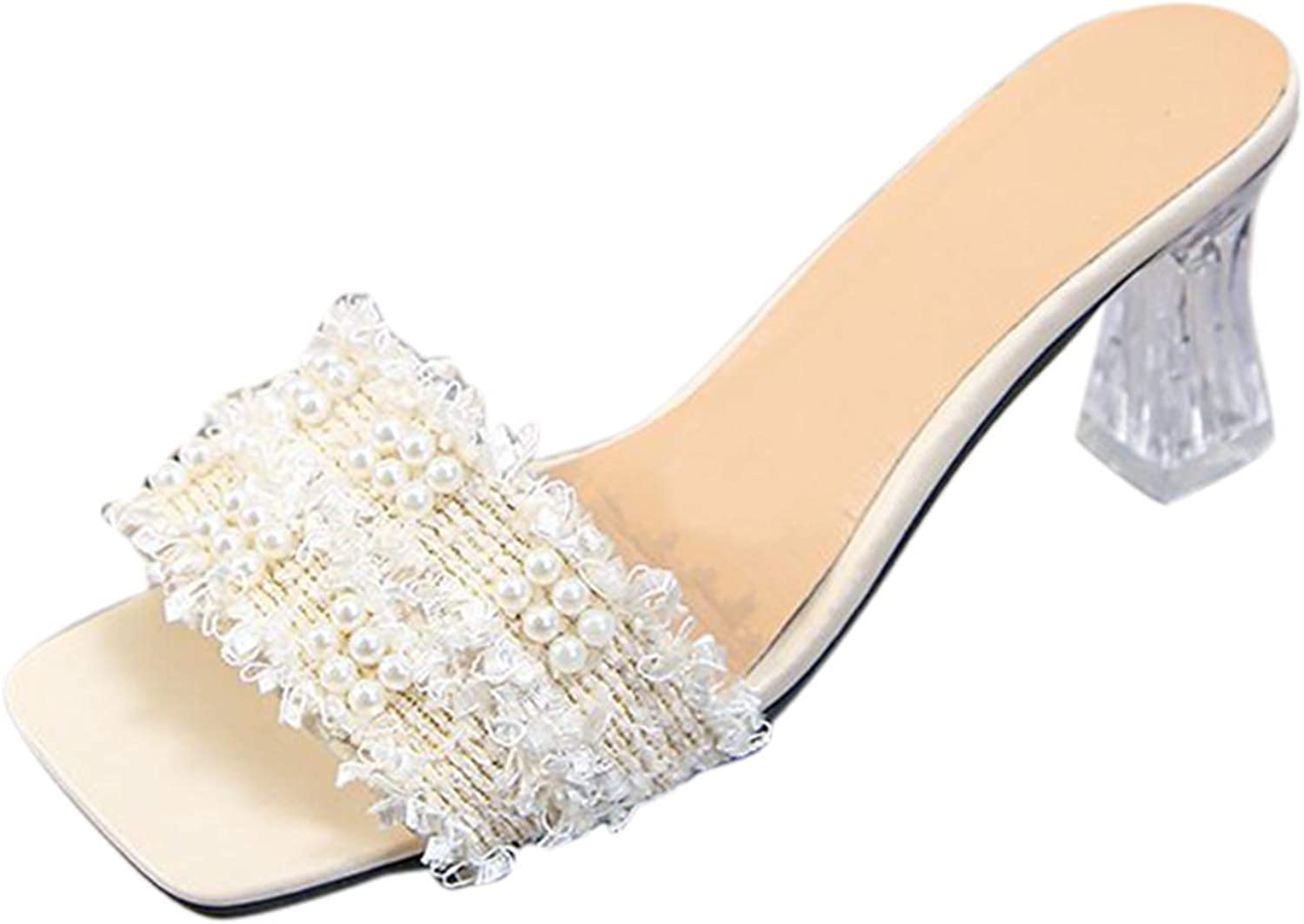 Nihewoo Sandals for Women Special price a limited time mart Casual I-Shap Pearl High-Heeled Summer