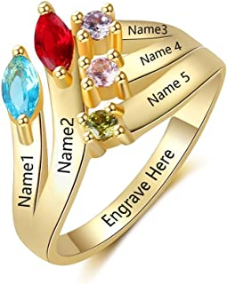Personalized Sterling Silver Mothers Rings Family Name Rings for 5 Mothers Ring with 5 Simulated Birthstones Mother's Day Rings for Mom