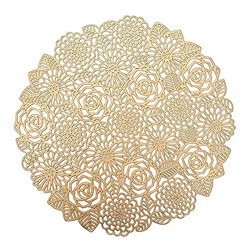 Keliour Tovagliette Set da tovagliette di 6 per Tavolo da Pranzo Lavabile Lavabile tappetini da Cucina Facile da Pulire per Casa (Color : Gold, Size : One Size)