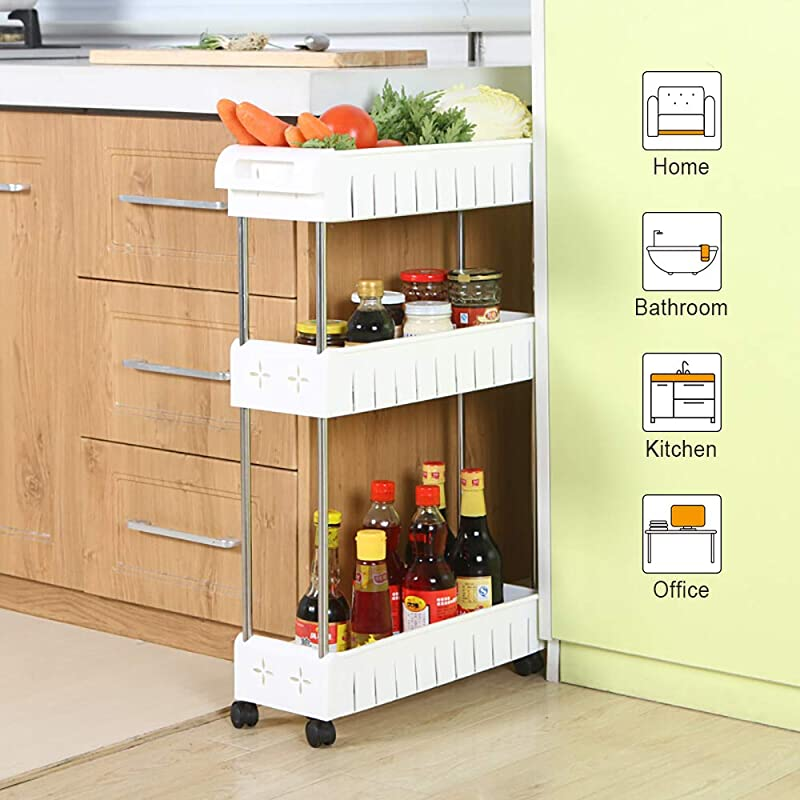 3 Tier Slim Storage Cart Mobile Shelving Unit Slide Out Storage Tower For Kitchen Bathroom Laundry Room Narrow Places White