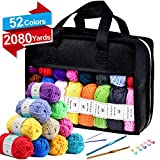 52 Acrylic Yarn Skeins, 2080 Yards Crochet Yarn with Reusable Storage Bag Includes 6 E-Books, 2 Crochet Hooks, 2 Weaving Needles, 10 Locking Stitch Markers for Crochet & Knitting by Inscraft