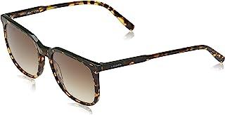 نظارات شمسية للرجال من لاكوست باطار مستطيل وتصميم شرائط وخطوط، هافانا داكن/اخضر