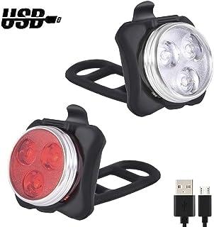 Wanku Bike Light Set - USB Rechargeable Bicycle Light - Bike Lights Front and Back/Super Bright Bike Headlight -Waterproof —4 Light Mode Options