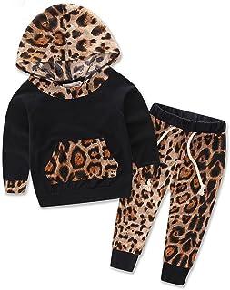 3834c58d9d4ec Internet Bébé Jeunes Filles Coton Mélangé Manches Longues Léopard  Impression Sweatshirt Phoque à Capuchon+ Pantalon Tenues