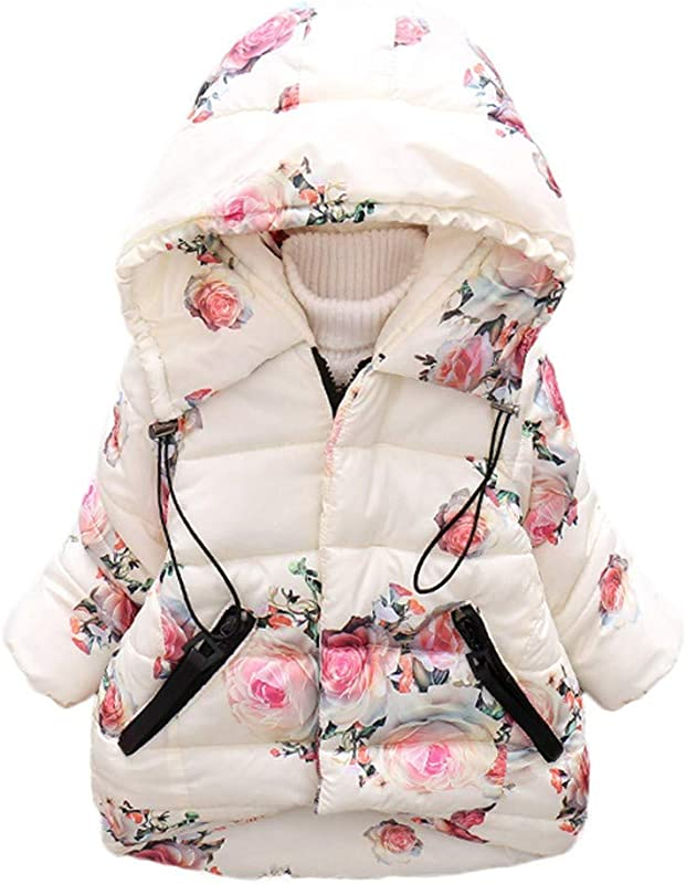 Clearance Baby Girl Winter Warm Floral Print Long Sleeve Windproof Hooded Coat For Boy