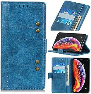 Xiaomi Redmi Go シェル,[ 衝撃 吸収 ] 保護シェル PU レザー 立つ 財布 カバー 耐久性のある フリップ シェル の Xiaomi Redmi Go Blue