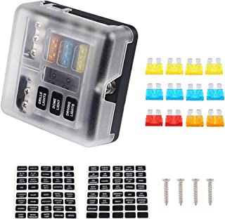 WATERWICH 6-Way Blade Fuse Block W/Negative Bus DC12V-32V Marine Car Fuse Box Holder with Ground LED Light Indication & Protection Cover 70 pcs Sticker for Boat Truck SUV (6-Way w/Cover/Neg/Fuse)