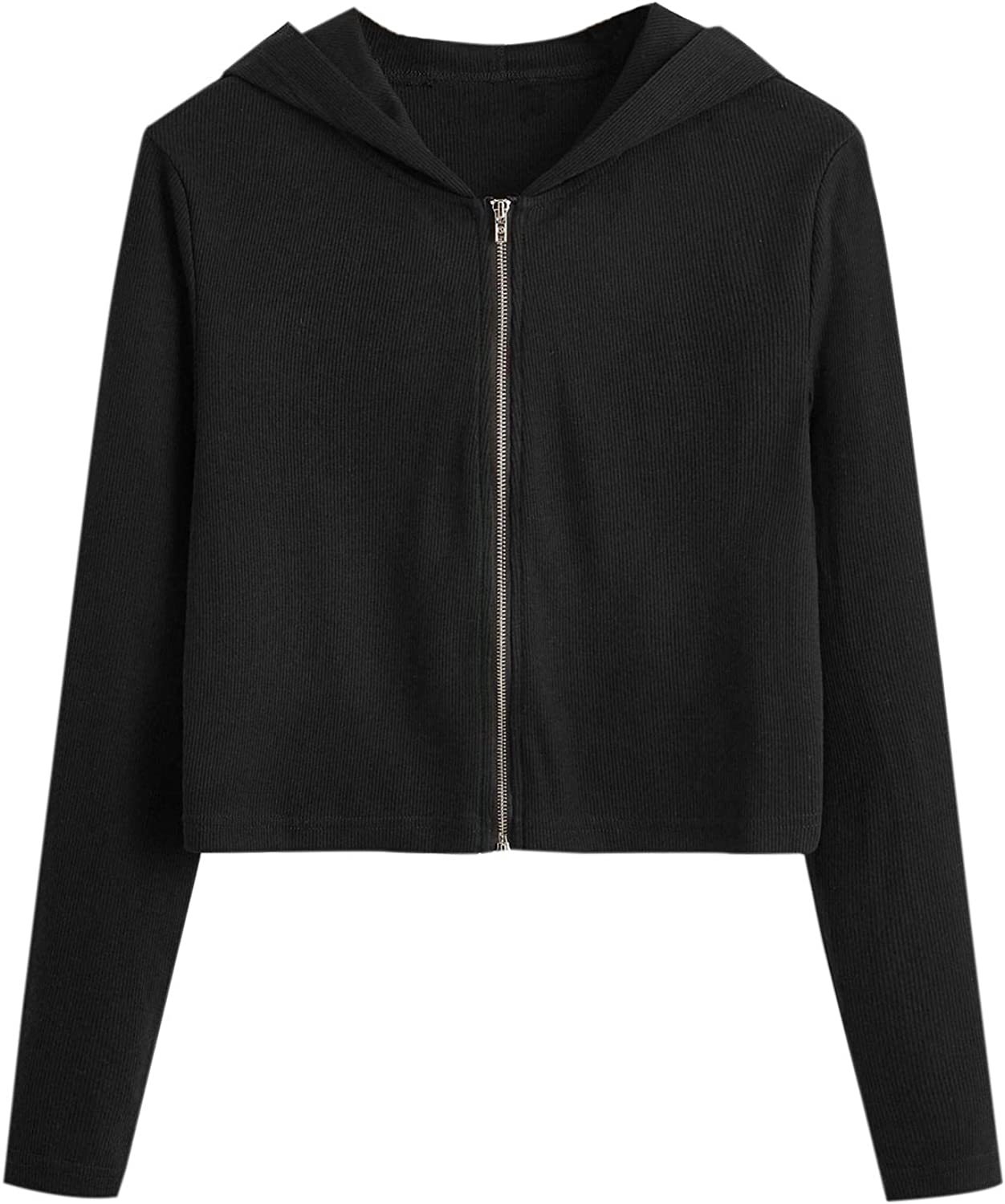 Milumia Women Casual Crop Hooded Jacket Long Sleeve Limited Cheap mail order specialty store price sale Zip Up Solid