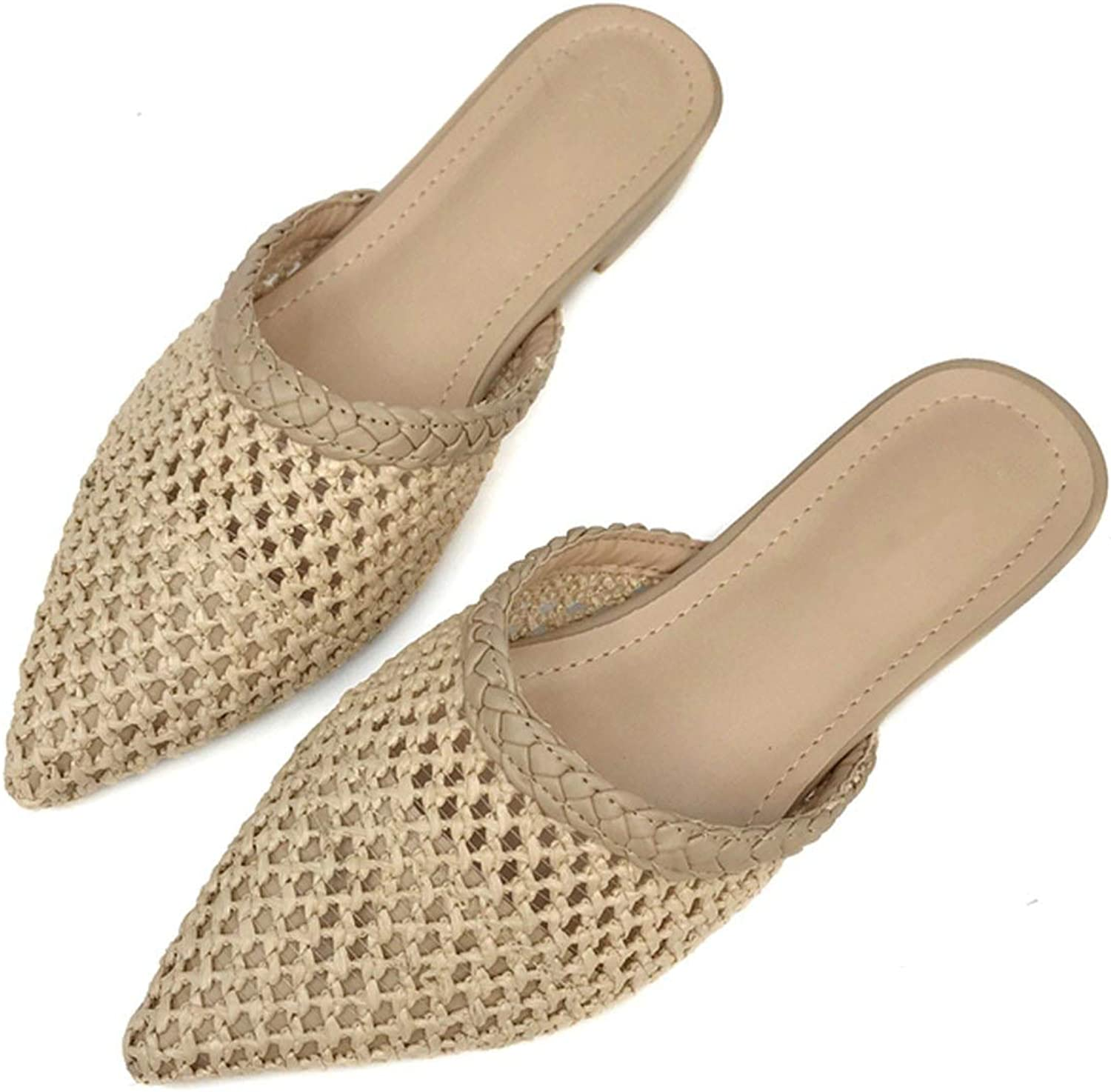 Hollow Weave Mules Women Slippers Summer Pointed Toe Flat Heel Slides Ladies Sandals