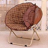 Mond Stuhl Faltbare Runde Stuhl Balkon Gartenstuhl Sofa Stuhl Baumwolle PP Schwamm Matte Gewicht: 100 Kg (Color : Brown)