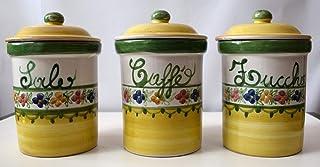 Set 3 Barattoli Sale Zucchero Caffé Linea Fiori Ceramica Le Ceramiche del Castello Handmade Pezzi Unici Made in Italy Dime...
