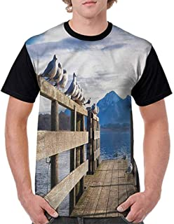 BlountDecor Round Neck T-Shirt,Rustic Lodge Wood Fashion Personality Customization