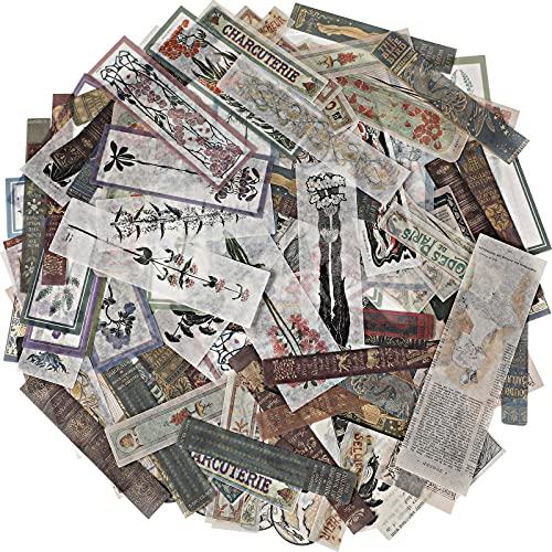 120 Piezas Pegatinas Washi Vintage para Scrapbook Calcomanías Decorativas Antiguas para Diario Planificador Pegatinas Autoadhesivas de Papel Washi Retro DIY (Flor, Título, Libro)