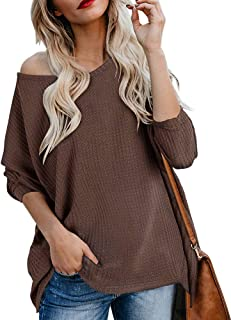 Ofenbuy Womens Off The Shoulder Sweater Oversized Waffle Knit Long Sleeve Fall Pullover Tunic Tops