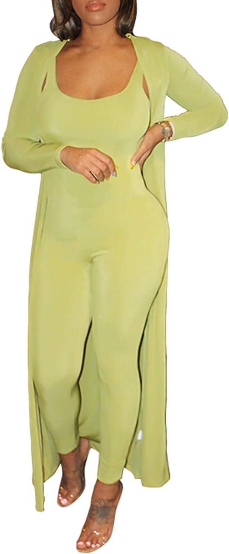 SEMATOMALA Women's Bodycon Jumpsuit Cardigan Set Backless Strap Skinny Pants Romper Open Front Long Blazer 2 Piece Outfit