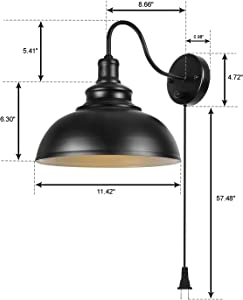 Gooseneck Wall Lamp Black Industrial Vintage Farmhouse Wall Sconces Lighting Wall Light Fixture with Plug in Cord and On Off Switch for Bedroom Nightstand