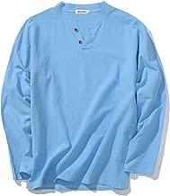 LOCALMODE Men's Linen&Cotton V Neck Long Sleeve T Shirts Casual Tee