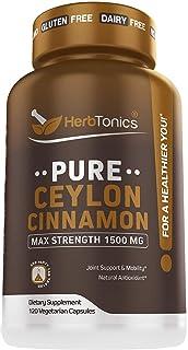 Organic Ceylon Cinnamon Capsules 1500 mg 120 Capsules, True Ceylon Cinnamon, Blood Sugar Levels Support Supplement - Sri L...