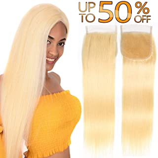 Best #613 Bleach Blonde Brazilian Human Hair Factory 4x4 Swiss Lace Closure With Baby Hair Free Part Peruvian Silky Straight Cheap Indian Malaysian Virgin Remy Hair Top Closures One Piece 10 inch