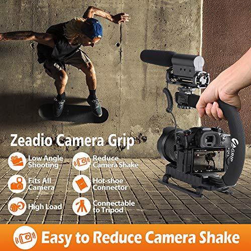 Zeadio Handheld Stabilisator Niedrigenwinkelschießen mit Zubehörschuh für Canon Nikon Sony DSLR Camcorder Kamera DV