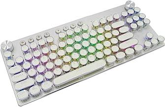 MK11 RGB Mechanical Keyboard Retro Bluetooth Wireless/Wired Multi-Device Gaming Keyboard-Blue Switch-RGB LED Backlit-87 Round Caps Keys for PC/Mac/iPad/iPhone/Smartphone/Laptop (Retro-White)