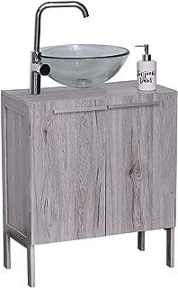 Evideco  Non Pedestal Under Sink Storage Vanity Cabinet Oslo Gray Oak, 23 3/4