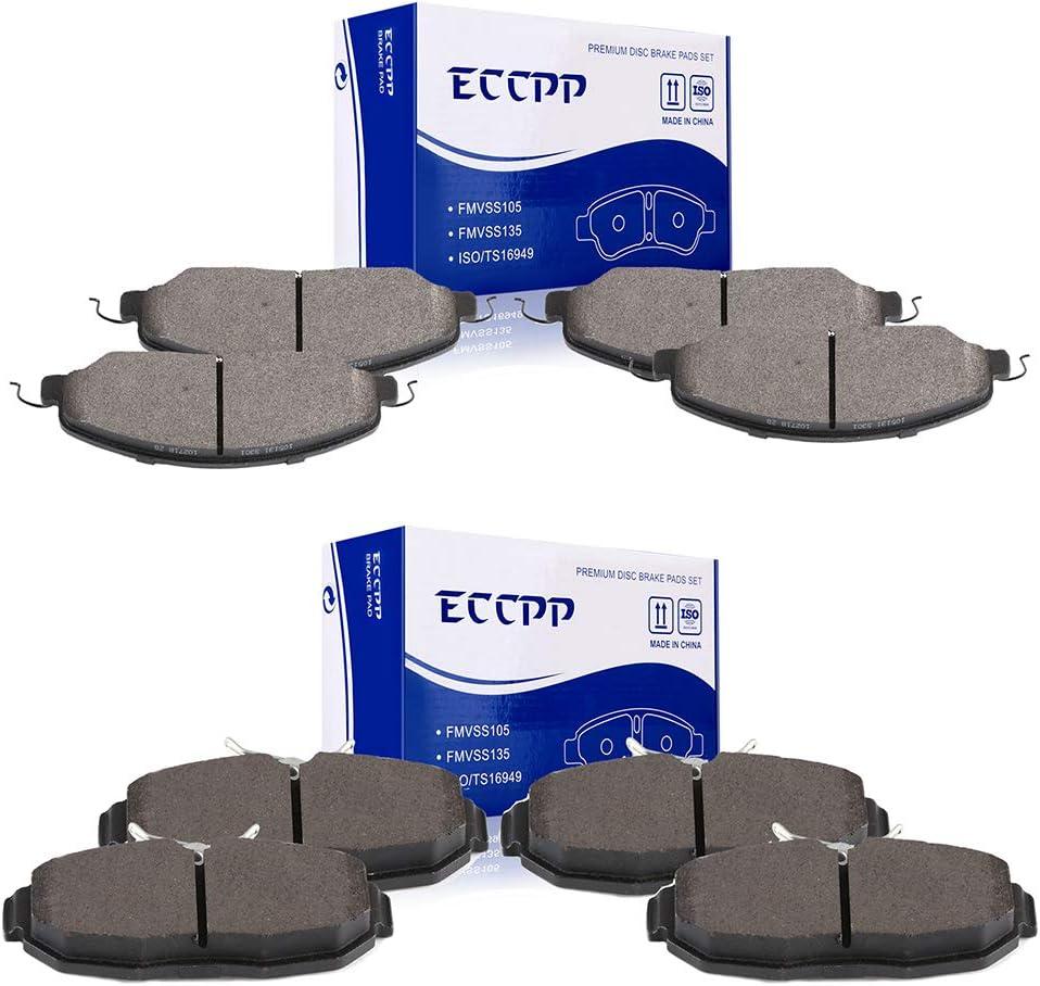 Brake Pads ECCPP 8pcs Ceramic 2005-2010 for fit Kits 営業 Disc 流行