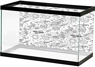 SLLART Aquarium Background Sticker Boys Room,Water Splashes Nature Landscape Image Fish