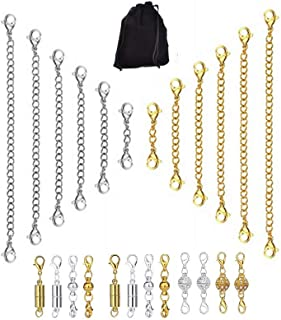 24 Pcs Necklace Extenders and Magnetic Clasps Kit,12 Pcs 3 Styles Jewelry Magnetic Lobster Clasps,12 Pcs 6 Different Length for Jewelry Necklace Bracelet Extenders Chain (Silver Gold)