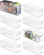 mDesign Plastic Stackable Household Storage Organizer Container Bin with Handles - for Media Consoles, Closets, Cabinets - Holds DVD's, Video Games, Gaming Accessories, Head Sets - 8 Pack - Clear