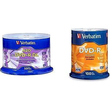 Verbatim DVD+R DL 8.5GB 8X Surface - 50pk Spindle Bundle with Verbatim DVD-R 4.7GB 16x AZO Recordable Media Disc - 100 Disc Spindle (FFP)