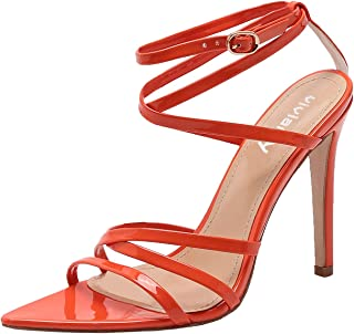 vivianly High Heel Sandal Pointed Toe Ankle Strappy Sandals Stilettos Heels Shoes for Party and Prom Orange Size: 10