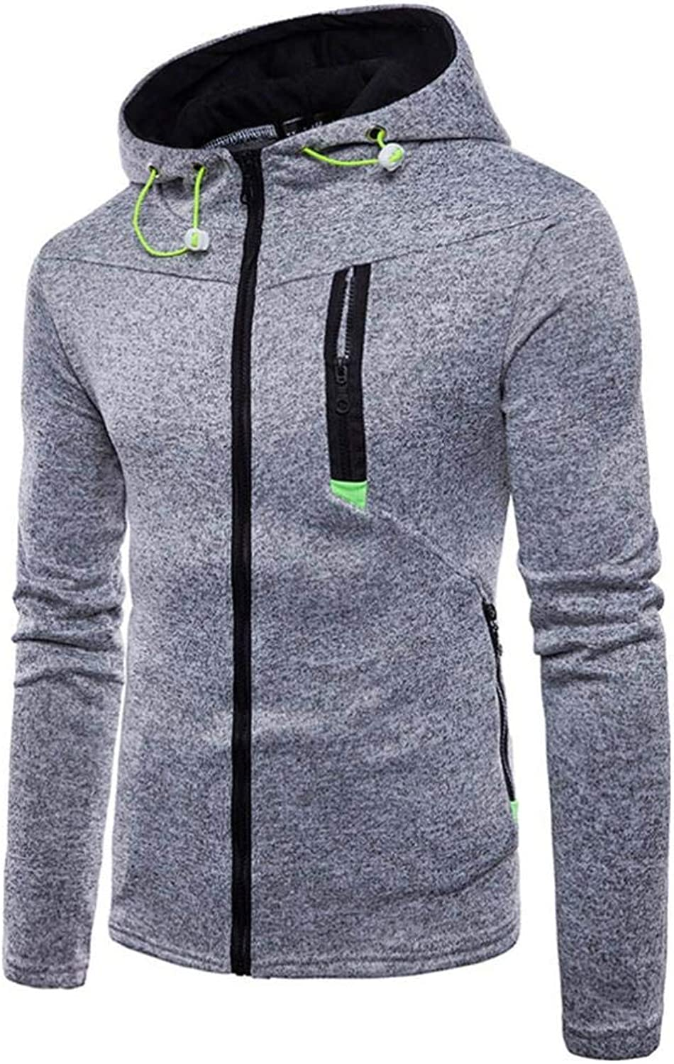 Men's Long Sleeve Zipper Hoodie Sweatshirt Top Tee Outwear Blouse Fashion Cosy Wild Tight Super Quality Grey bluee Black for Mens (color   grey, Size   XL)