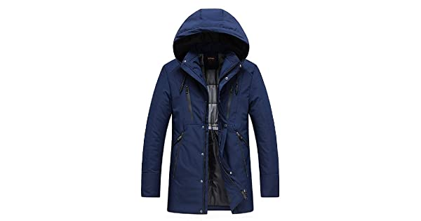 Sayah Mens Md-Long Cotton Hoodie Solid Thickening Parka Jacket