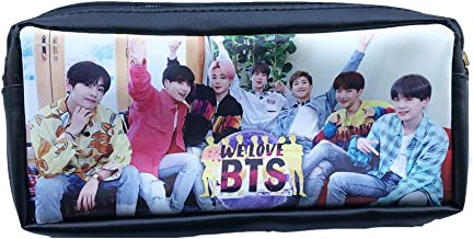 BTS Pencil Case Bangtan Boys Pen Bag Pouch Durable Students Stationery, PU Leather, Black (We Love BTS)