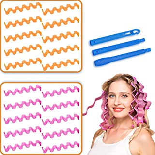 "Magic Hair Curlers Wave Curls Styling Kit, No Heat Hair Curlers and 1 Styling Hook,for Extra Long Hair up to 20"" (20pcs 50..."