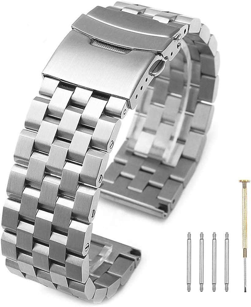 Correa de reloj de acero inoxidable 316L, acabado cepillado sólido, 20 mm, 22 mm, 24 mm, con cierre de doble cierre de buceo, para hombres y mujeres